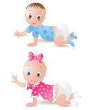 Baby girl and boy. Baby girl and baby boy Stock Photos