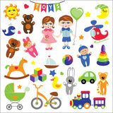 Baby girl and boy with Baby toy icons.eps stock illustration
