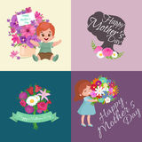 Baby girl and boy with bouquet flowers Happy Mothers Day Royalty Free Stock Photos