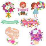 Baby girl and boy with bouquet flowers Happy Mothers Day Stock Photography