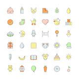 Baby (girl and boy) cute outline colored icons vector set. Stock Photo