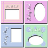 Baby girl and boy frames. Four different frames in one picture for baby girls and baby boys Stock Images