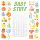 Baby (girl and boy) stuff flat multicolored cute vector background with place for your text. Minimalistic design. Royalty Free Stock Images