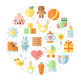 Baby (girl and boy) stuff flat multicolored cute vector circle background. Minimalistic design. Stock Photo