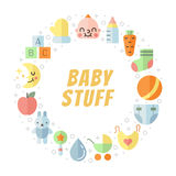 Baby (girl and boy) stuff flat multicolored cute vector circle frame. Minimalistic design (part one). Royalty Free Stock Image