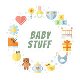 Baby (girl and boy) stuff flat multicolored cute vector circle frame. Minimalistic design (part two). Stock Images