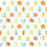 Baby (girl and boy) stuff flat multicolored cute vector seamless pattern. Minimalistic design. Part one. Stock Image