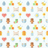 Baby (girl and boy) stuff flat multicolored cute vector seamless pattern. Minimalistic design. Part two. Royalty Free Stock Images