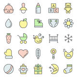 Baby (girl and boy) things outline multicolored cute icons vector set. Minimalistic design. Royalty Free Stock Photo