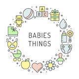 Baby (girl and boy) things outline multicolored cute vector circle frame background. Minimalistic design. Part one. Royalty Free Stock Photo
