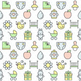 Baby (girl and boy) things outline multicolored cute vector seamless pattern. Minimalistic design. Part two. Stock Photos