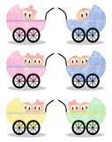 Baby - Girl, Boy, Twins. Set of babies in prams on white background Stock Images