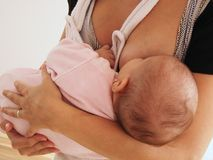 Baby girl breastfeeding Royalty Free Stock Image