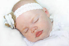 Baby girl with bright blue eyes Royalty Free Stock Images
