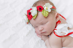 Baby girl in bright colorful hairband Royalty Free Stock Photography
