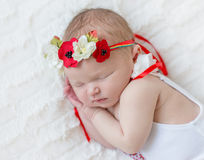 Baby girl in bright colorful hairband Royalty Free Stock Images