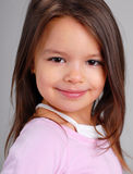 Baby girl with brown hair Royalty Free Stock Photography