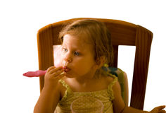 The baby girl brushing tooth Royalty Free Stock Photo