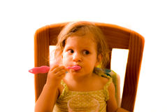 The baby girl brushing tooth Royalty Free Stock Photography