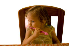 The baby girl brushing tooth Royalty Free Stock Photos