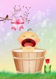 Baby girl in the bucket Stock Photos