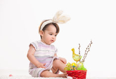 Baby girl with bunny ears Royalty Free Stock Images