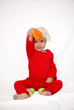 Baby girl with bunny hat isolated Royalty Free Stock Photos