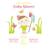 Baby Girl with Butterflies - Baby Shower or Arrival Card stock illustration