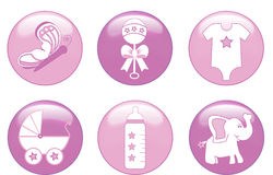 Baby Girl Buttons. Illustration of a group of baby girl items in pink and white Royalty Free Stock Photos