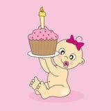 Baby girl with a cake Stock Photos