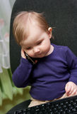 Baby girl call center Royalty Free Stock Images