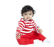 Baby Girl with Candy Cane Royalty Free Stock Photo