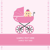 Baby girl in a car. Baby girl arrival announcement card, baby in a car Royalty Free Stock Images