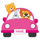 Baby girl. car animals Royalty Free Stock Images