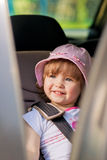 Baby girl in car safety seat Stock Photo