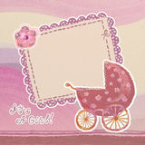 Baby girl card. Baby girl arrival card with blank Royalty Free Stock Photography