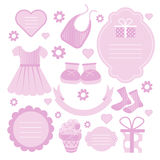 Baby girl card designing element set or  scrapbook elements Royalty Free Stock Photos