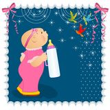 Baby girl card. Card with baby girl and milk bottle Stock Photos