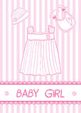 Baby girl card. New baby girl card with clothes, vector illustration Stock Photos