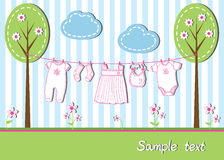 Baby girl card. New baby girl card with clothes, vector illustration Royalty Free Stock Photography