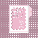 Baby girl card  on a pink background with dots Royalty Free Stock Photo