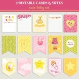 Baby Girl Card Set - for birthday Stock Image