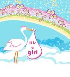 Baby girl Card - A stork delivering a baby girl. Vector Illustration Royalty Free Stock Image