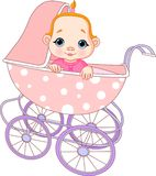 Baby girl in carriage. Cute Baby girl sitting in carriage Stock Image