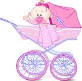 Baby girl in carriage. Baby girl sitting in carriage and waiving hello Stock Image