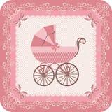 Baby girl carriage. Congratulatory vintage postcard for baby with pink carriage. Congratulate newborn. Retro style Royalty Free Stock Photos