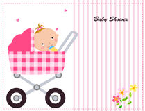 Baby girl carriage with a cute baby Royalty Free Stock Image
