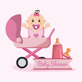 Baby girl cartoon of baby shower concept Stock Photo