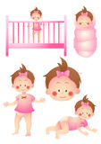 Baby girl cartoon set. Baby girl in different places and positions Royalty Free Stock Photo