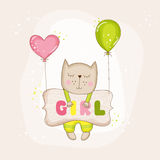 Baby Girl Cat with Balloons - Baby Shower or Arrival Card Royalty Free Stock Photo